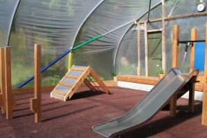 Slide and climbing frame in the indoor play area