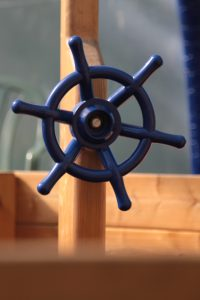 Steering wheel of the pirate ship in the children's indoor play area